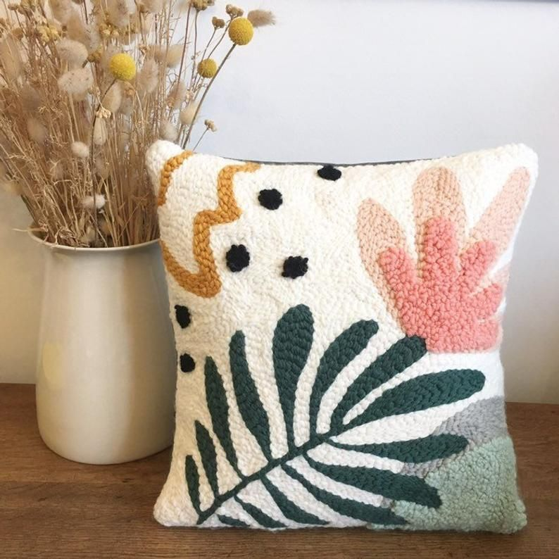 Flower punch needle pillow Embroider