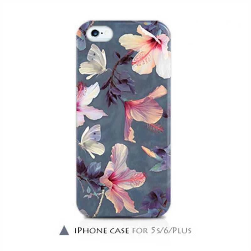 Self Design Hibiscus Korea Art Flower Soft Tpu Case Cover For Iphone 5 5s 6 plus #SelfDesign