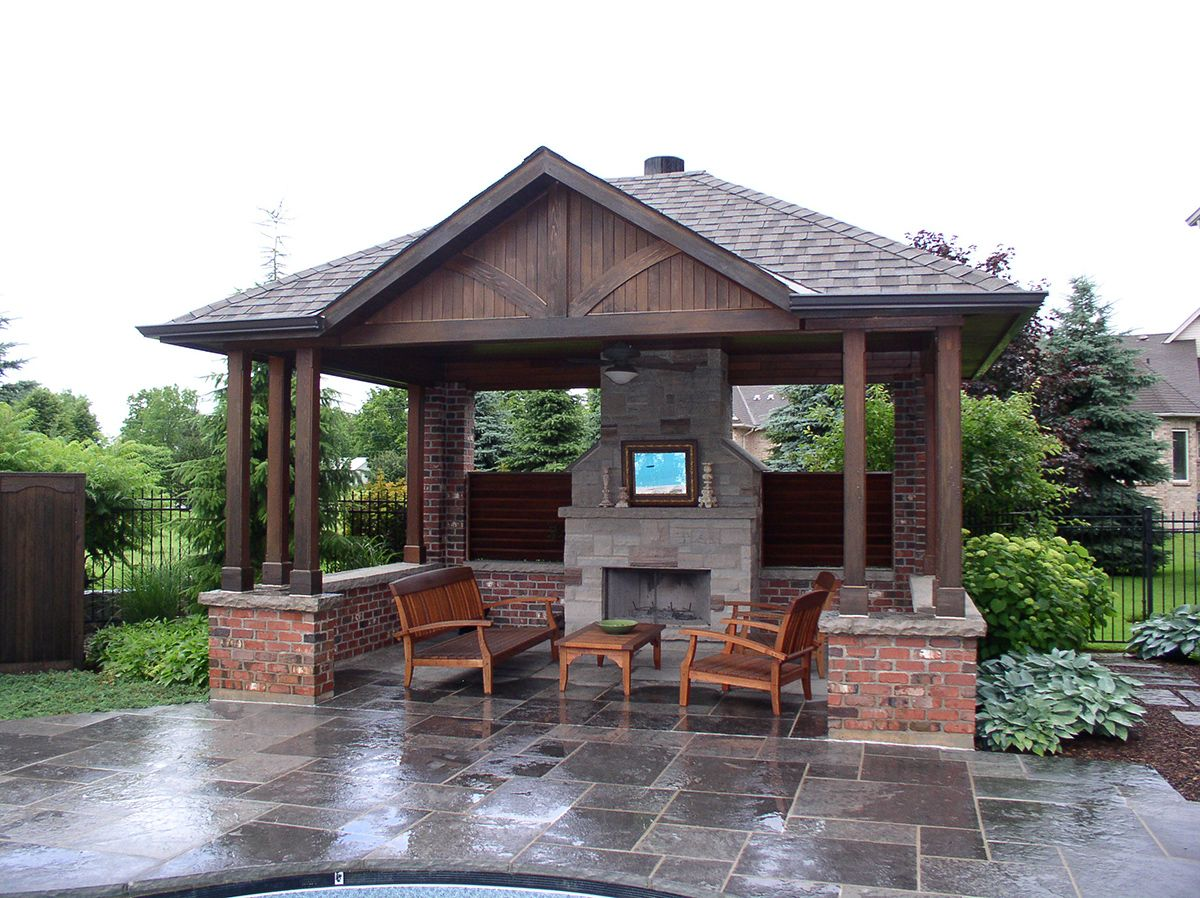 Pool sheds and cabanas oakville by shademaster landscaping for Pool design with gazebo