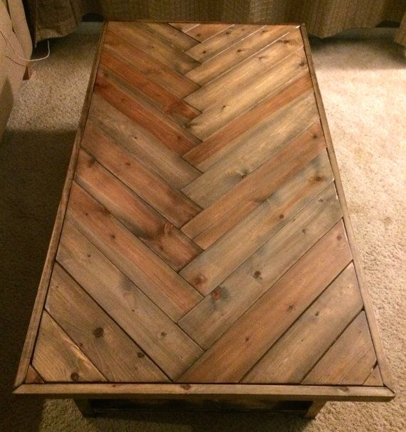 Rustic Herringbone Solid Wood Coffee Table By Purewoodworking