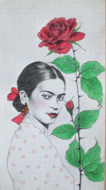 Frida Kahlo original pencil drawing illustration in antique wooden ...