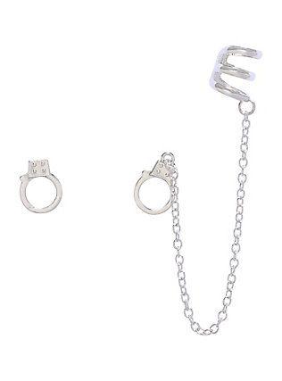 Hot Topic Blackheart Handcuff Cuff Earrings
