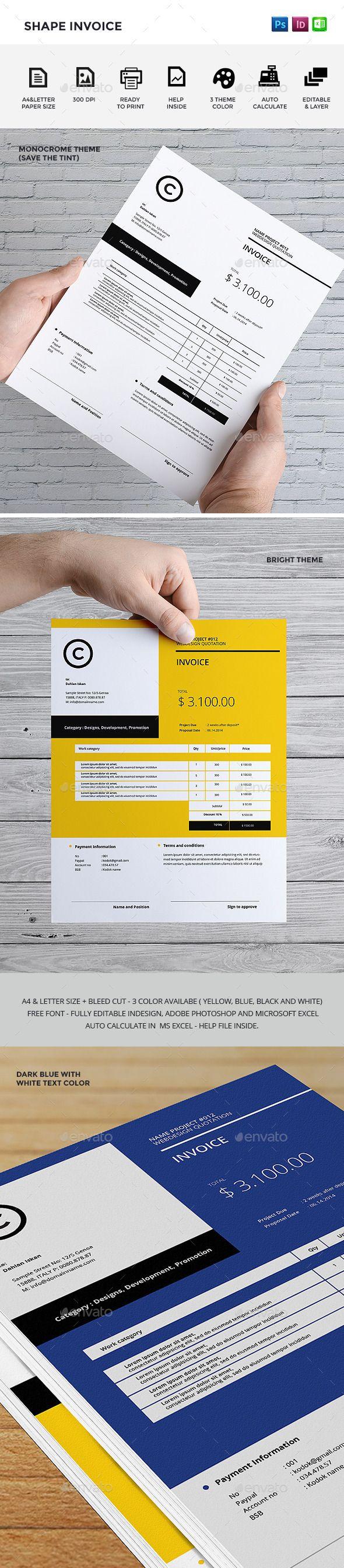 Shape Invoice   Diseño de factura, Papelería y Papeleria corporativa