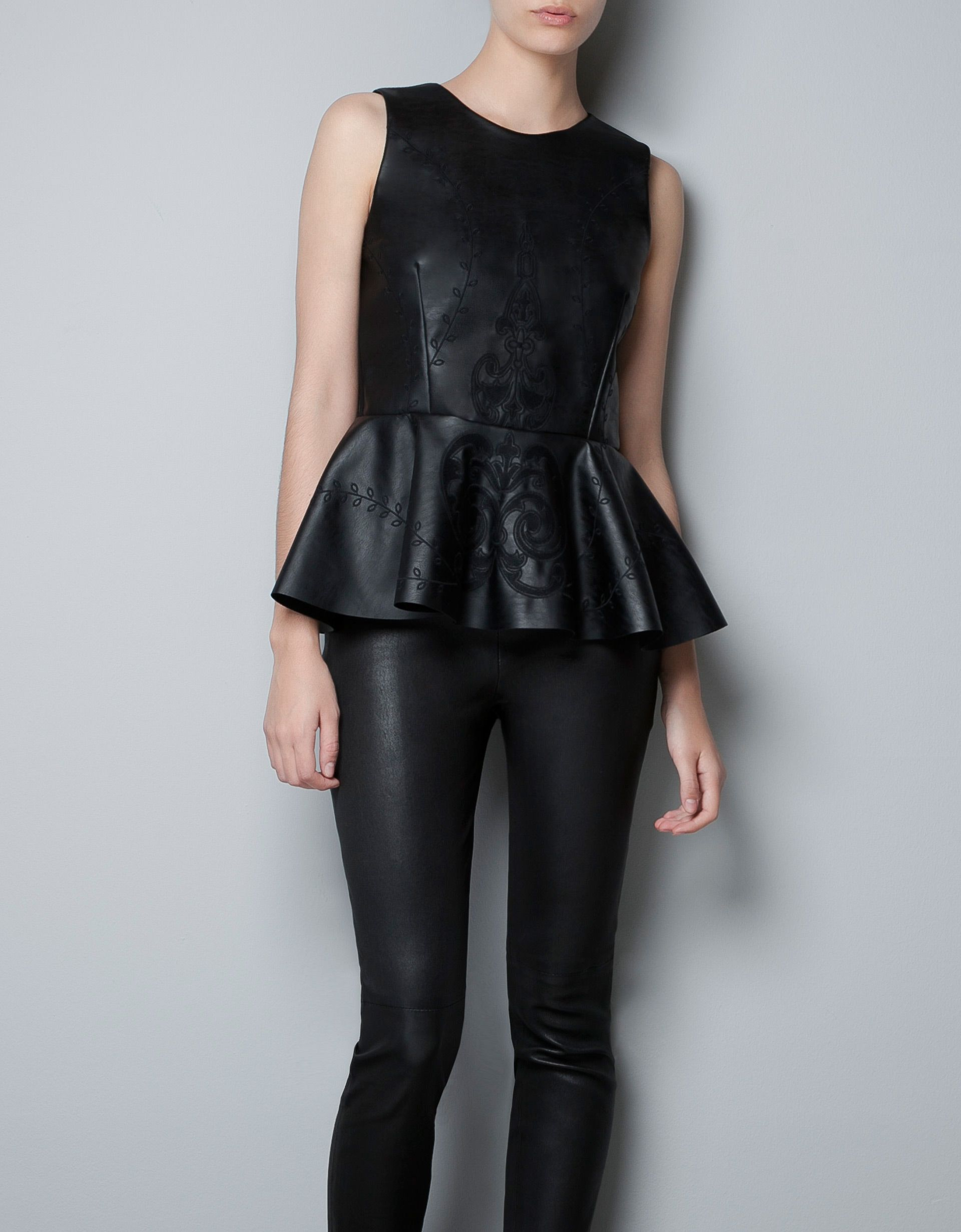 f3fb24798144a9 EMBROIDERED FAUX LEATHER TOP WITH PEPLUM FRILL from Zara | Casual ...