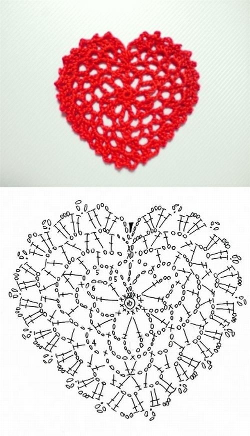 Lace heart pattern diagram #crochet #motif | tejido | Pinterest ...