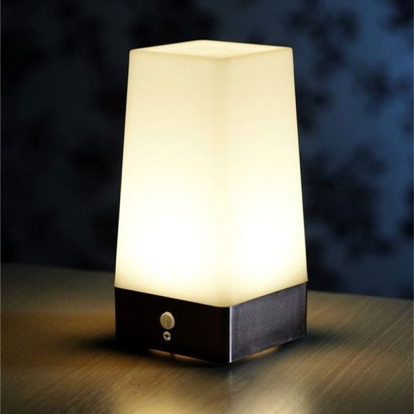 Wireless Pir Motion Sensor Table Led Night Light Battery Powered Square Motion Sensor Lights Led Night Light Light Sensor