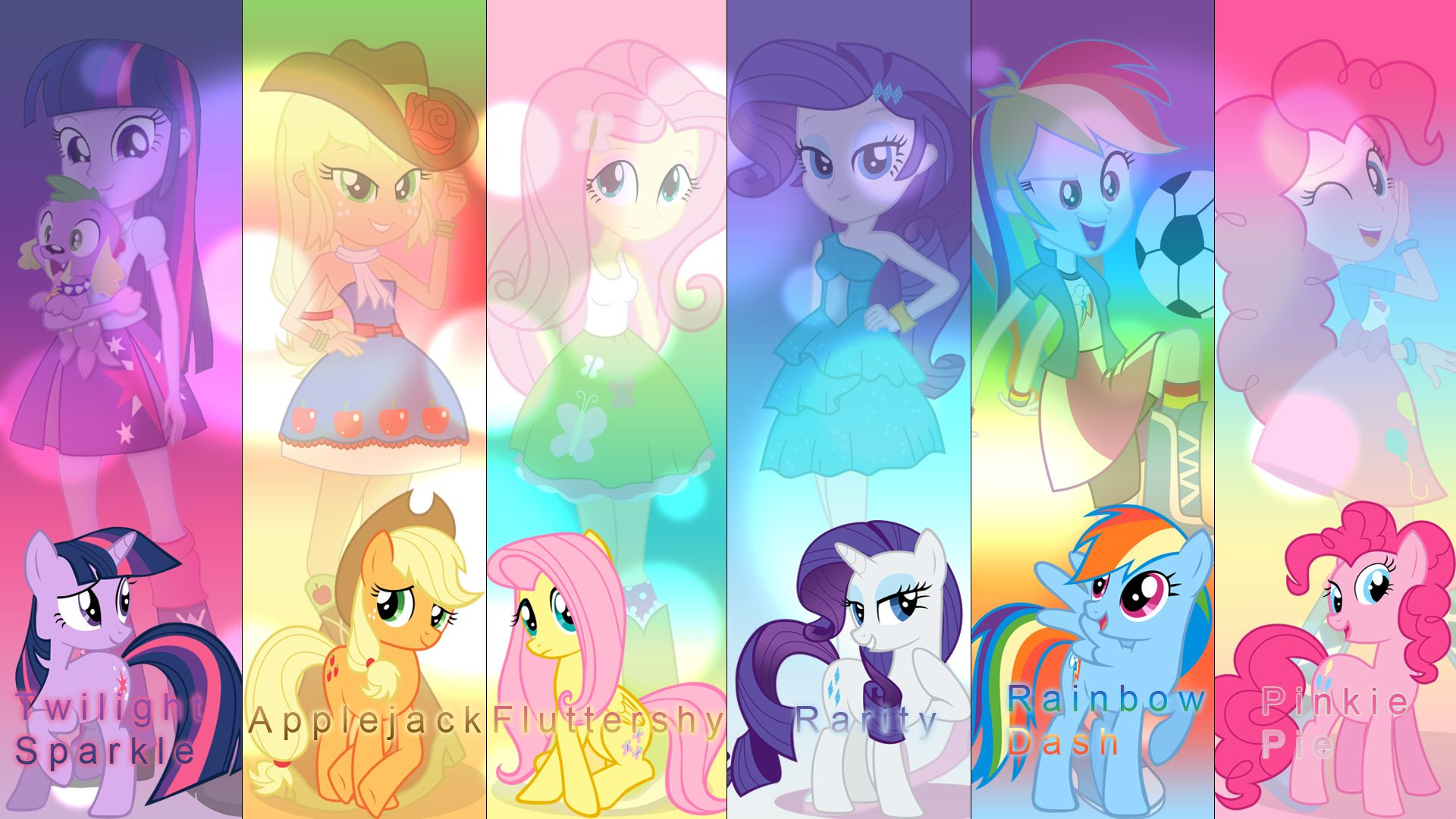 Mane Six Equestria Girls Wallpaper By Djthunderbolt Deviantart Com
