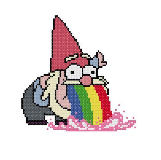 Photo of Gravity Falls Cross Stitch Pattern Puking Gnome Meme