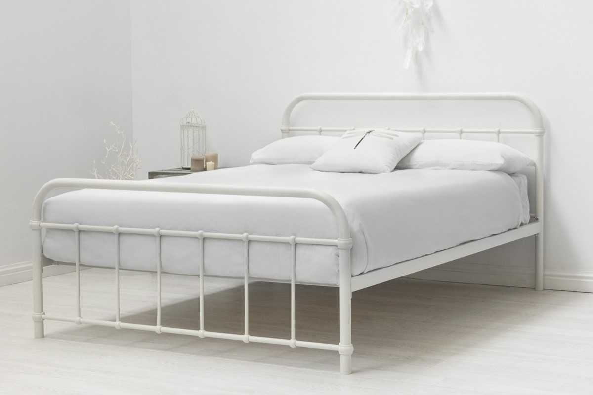 Hospital Style White Metal Bed Frame