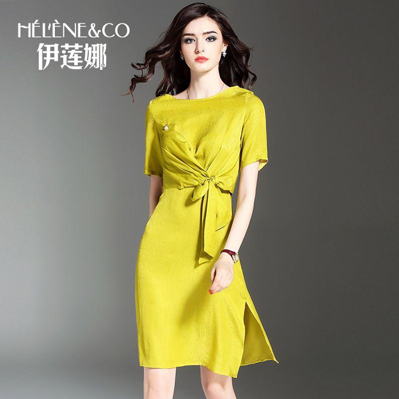 >> Click to Buy << Fashion women's summer dress 2017 yellow slim elegant short-sleeve dress bow o-neck lady's dresses female #Affiliate