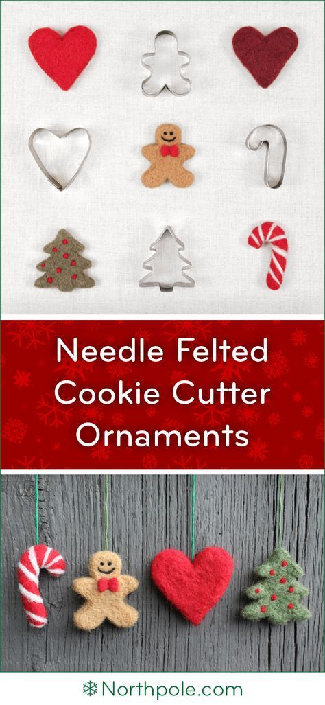 Needle Felted Cookie Cutter Ornaments • Northpole.com Craft Cottage #needlefelting