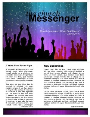Celebration Church Newsletter Template  Covered Kids