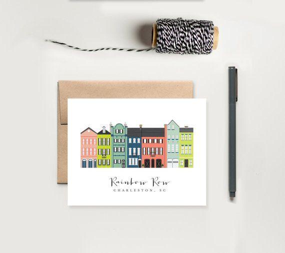 Charleston Rainbow Row Greeting Card; Charleston, SC Cards; Charleston South Carolina Gift