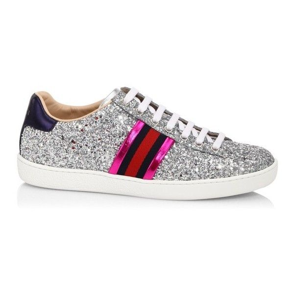 0e26b83ecda Gucci New Ace Glitter Sneakers ( 650) ❤ liked on Polyvore featuring shoes
