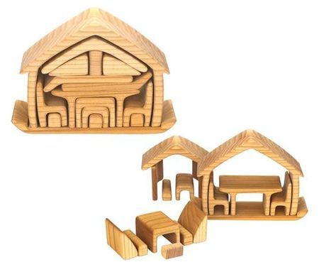 """Fine Wooden Toys carries this very cool stacking/nesting """"furniture house,"""" which can also be a balancing toy, a tunnel-builder, or any one of a dozen other open-ended play items:"""