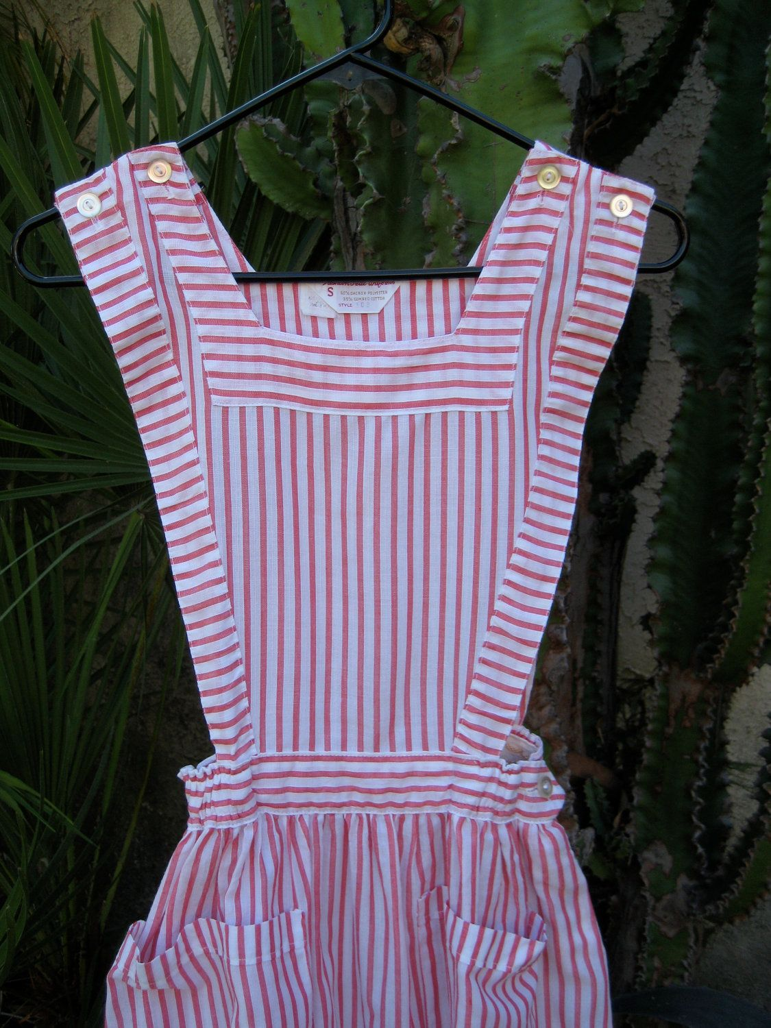 90s Red and White Striped Candy Striper Blouse