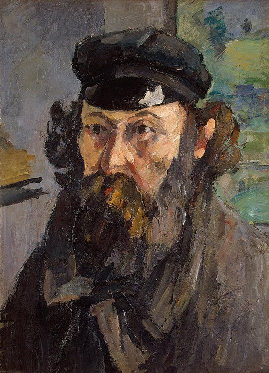 Self-Portrait in a Casquette - Paul Cezanne - Drawings, Prints and Painting from Hermitage Museum