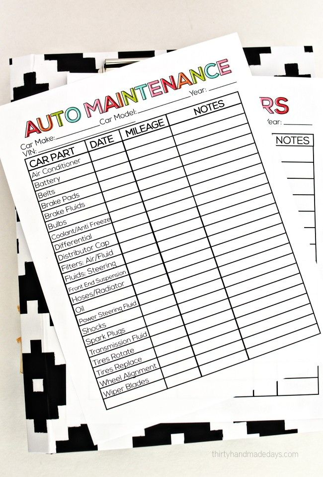 Printable Auto Maintenance Auto maintenance, Planners and Bullet - vehicle maintenance sheet template