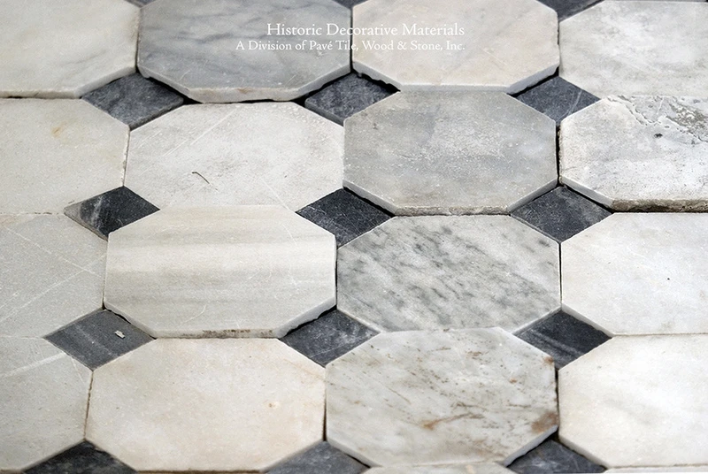 18th Century Italian Antique Black And White Marble Stone Floors Elegant Octagon In 2020 Stone Flooring Black White Marble Black White Tiles