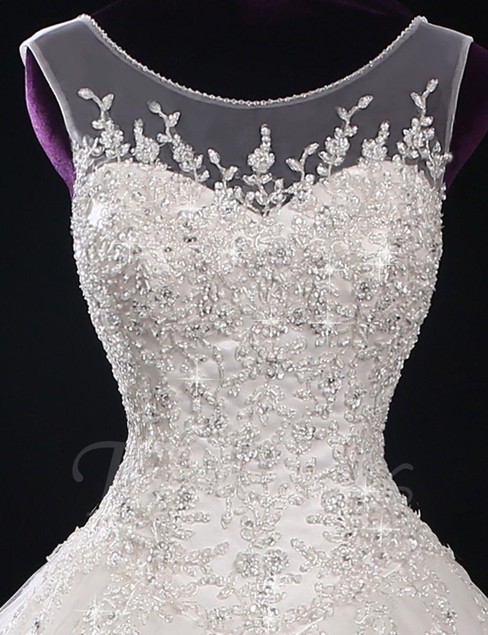 Scoop Neck Beading Appliques Plus Size Wedding Dress Wedding Dresses Beaded Ball Gowns Wedding Wedding Dresses Ebay [ 1300 x 1000 Pixel ]