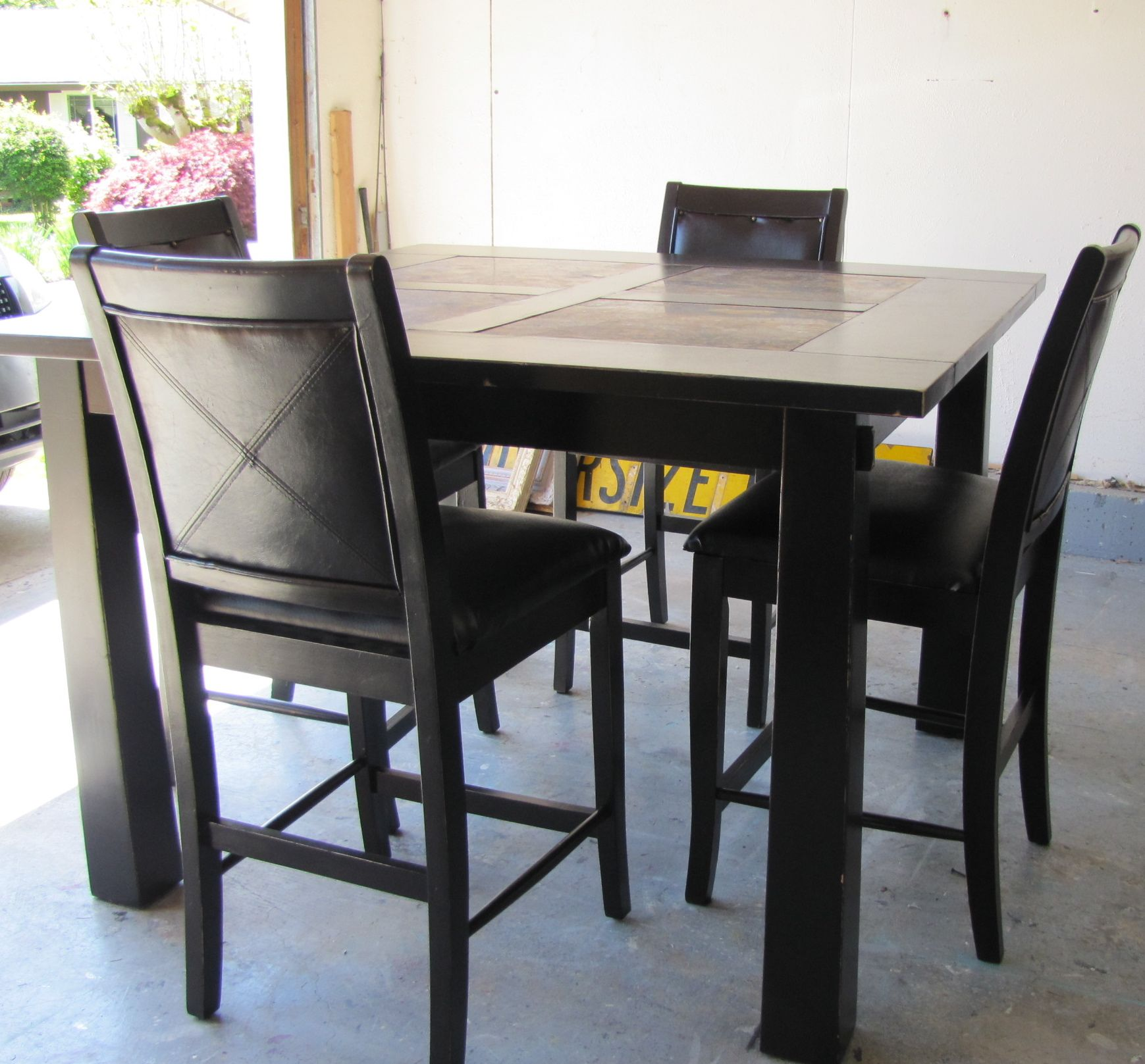Black Distressed Pub Style Dining Table Furniture Pub Dining Set