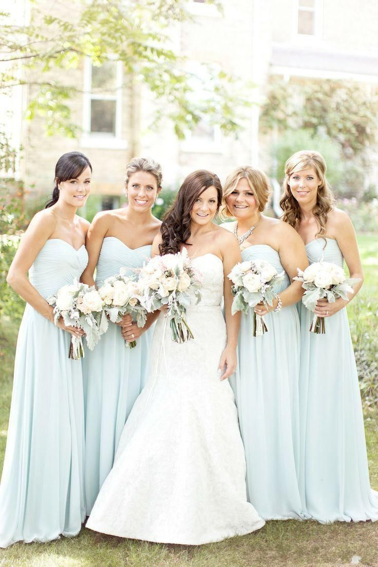 Cheap Chiffon Light Blue bridesmaid dresses Long Floor Ruched ...