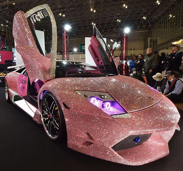 A Custom Lamborghini Murcielago Finished With Pink Swarovski Crystals On  The Whole Body