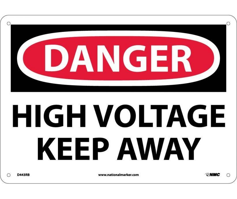 Danger, HIGH VOLTAGE KEEP AWAY, 10X14, Rigid Plastic