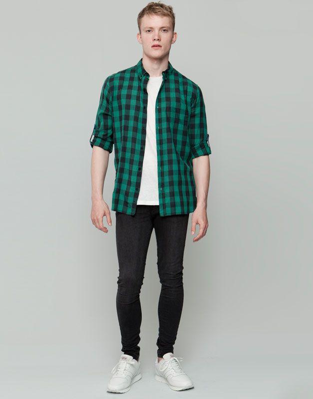 97801d6e90a31 Pull Bear - hombre - camisas - camisa cuadros dameros - verde -  09471539-I2015