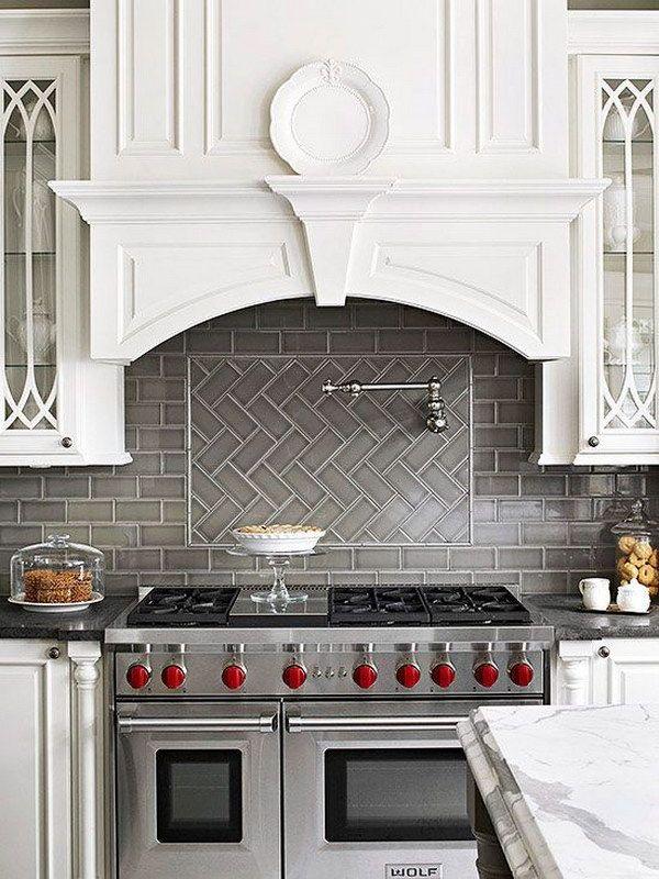 Grey Herringbone Subway Tile Backsplash Works With The Stainless