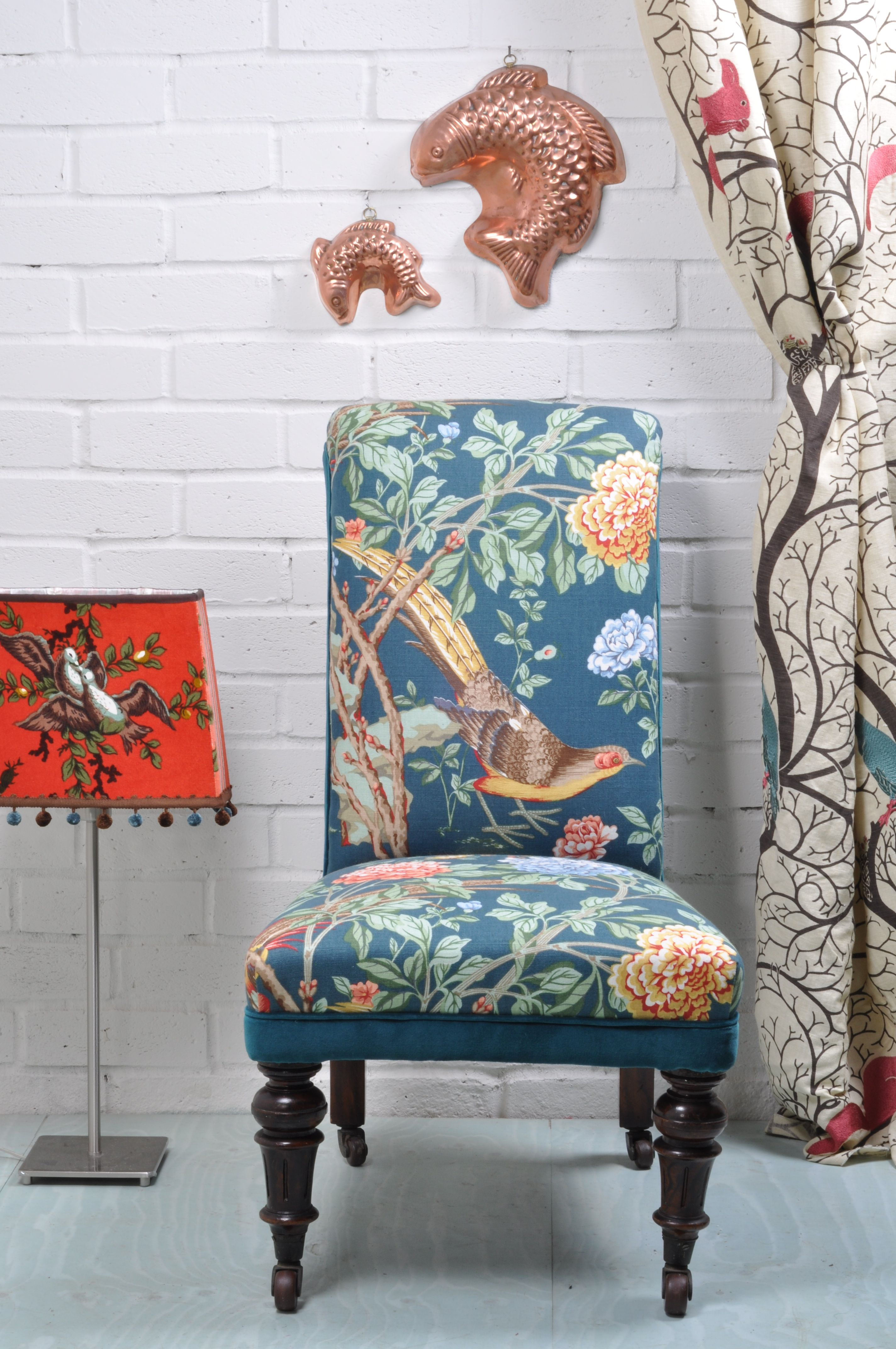 victorian slipper chair at kendal upholstery in gp u0026 j baker fabric