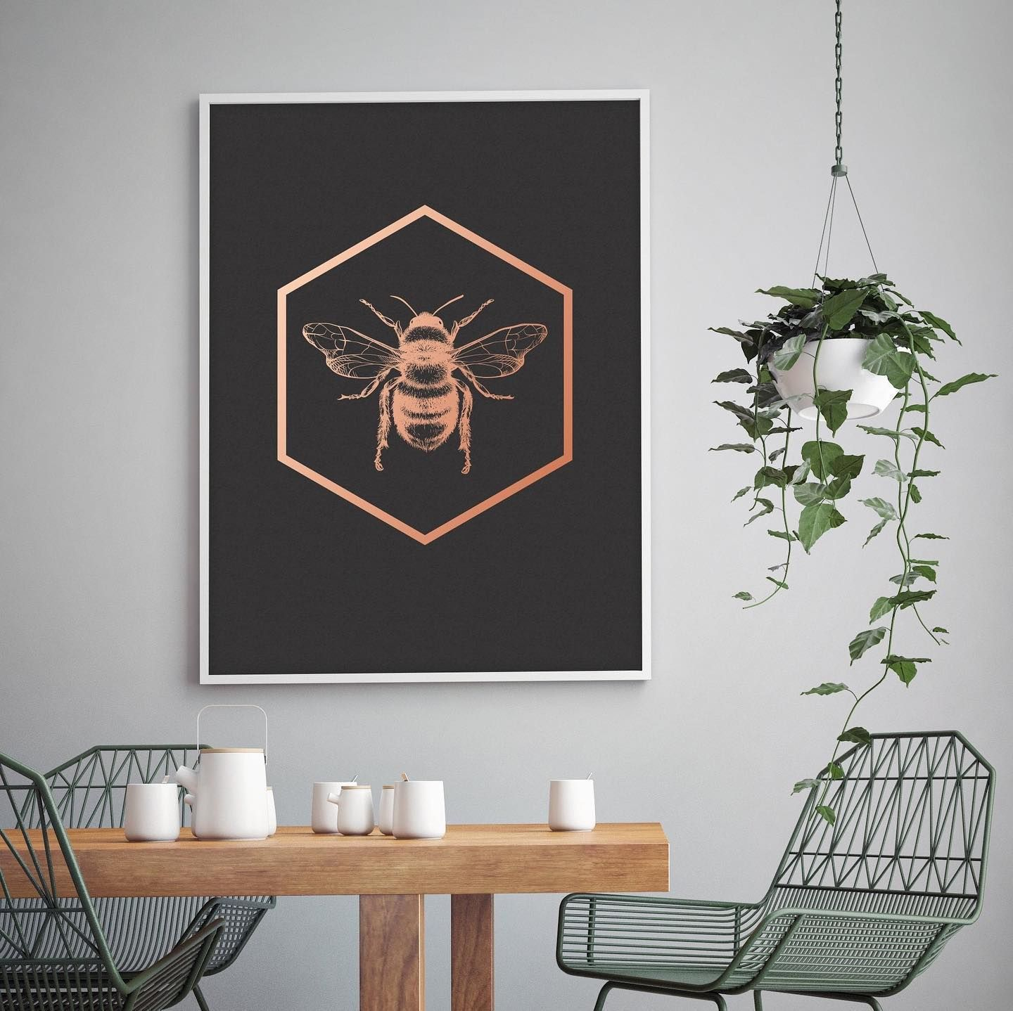 Bumble Bee Print Foiled Art. Insect Wall Art. Cool Hanging