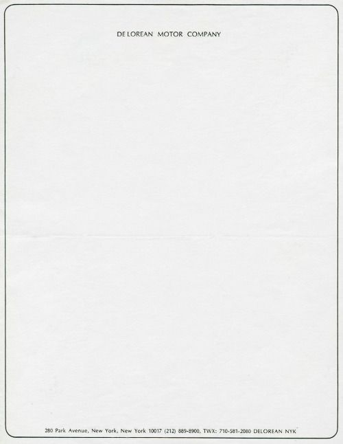 Official letterhead of DeLorean Motor Company, a car manufacturer