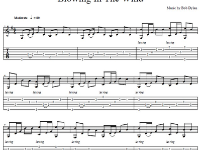 Blowing In The Wind for guitar. Guitar sheet music and tabs (с изображениями)