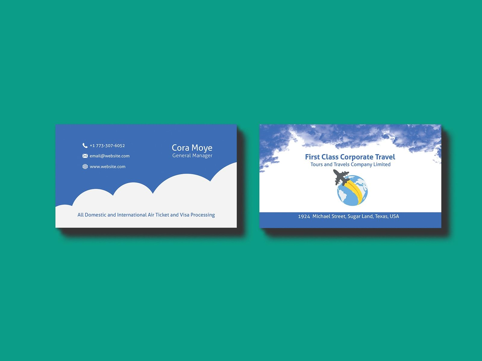 Corporate Travel Agency Business Card Template Agency Business Cards Business Cards Creative Templates Business Cards Collection