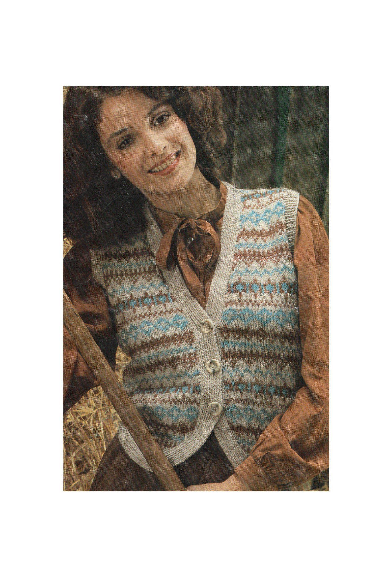 1e7153333783 Womens Fair Isle Waistcoat Knitting Pattern PDF for Ladies 32