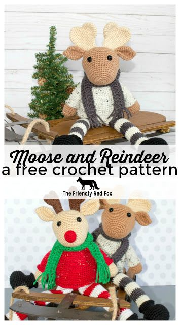 Free Crochet Moose And Crochet Reindeer Pattern Crochet