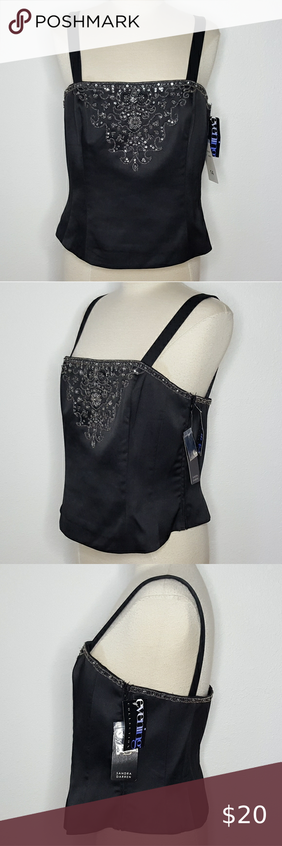 Photo of Sandra Darren Black Formal Corset Top NWT New and never worn. It is a size 14, s…