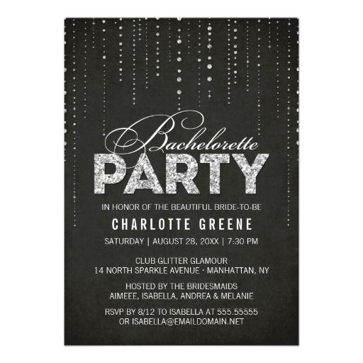 Black U0026 Silver Glitter Look Bachelorette Party Card