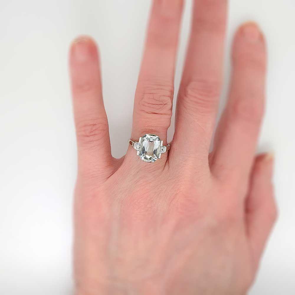 Fancy Cut Art Deco 3.5ct Aquamarine & Rose Cut Diamond Ring 18k ...