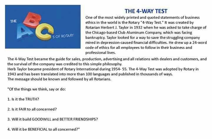 Rotary Club 4-Way test