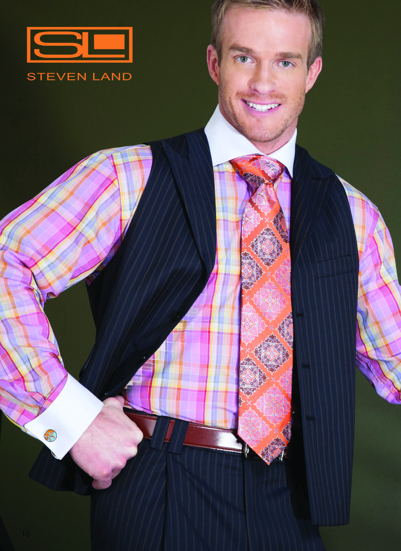 Pink dress shirt blue suit  StevenLand SpringCollection Find a store evenland