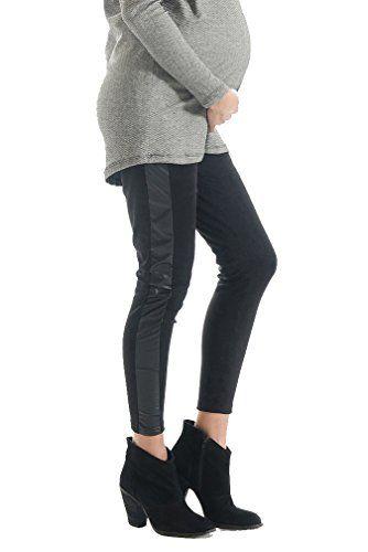 Lilac Pleather Trim Maternity Leggings Black Large ...