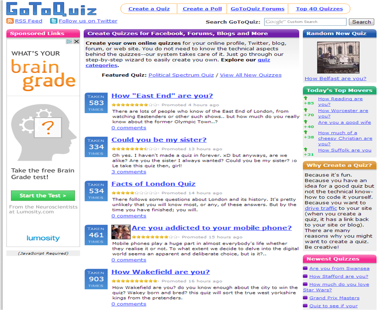 Go to Quiz: Create Quizzes for Facebook, Forums, Blogs and
