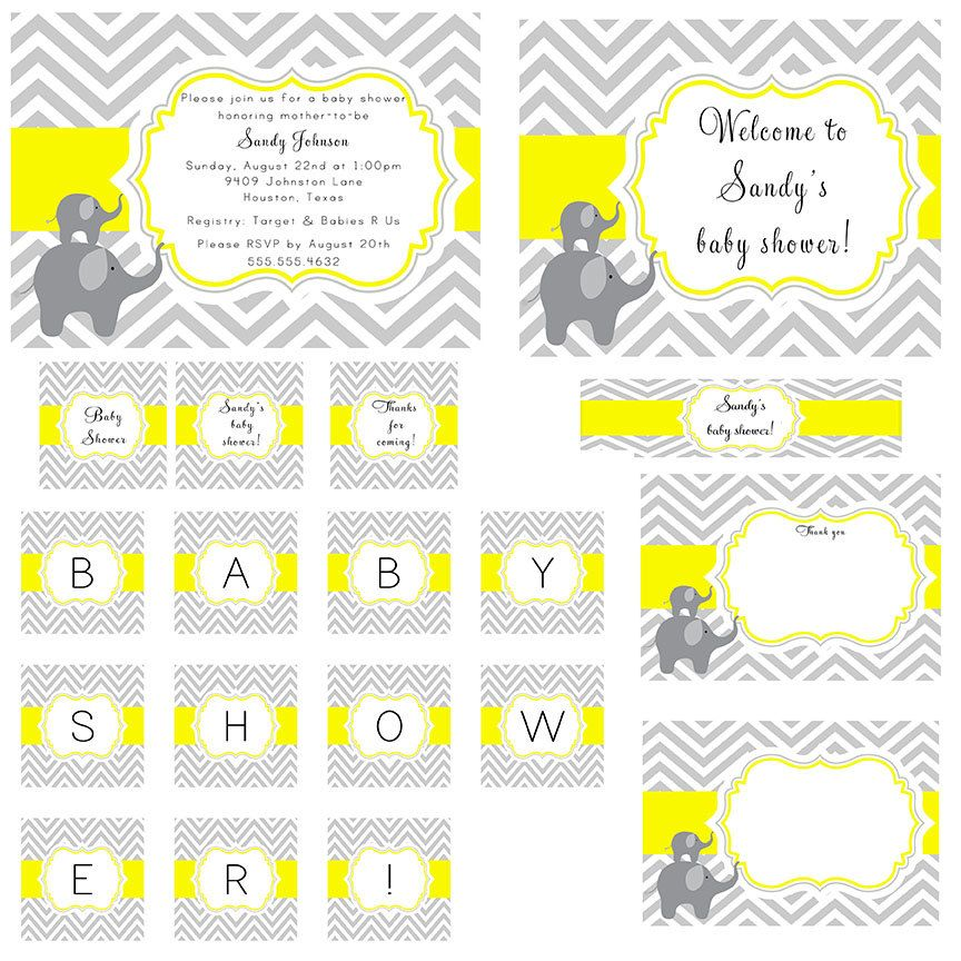 grey and yellow baby shower | PRINTABLE Gray Yellow Chevron and Elephants Baby Shower Party Package