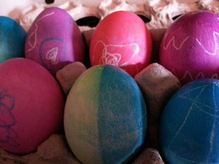 Crayon on Easter eggs. White is my favorite