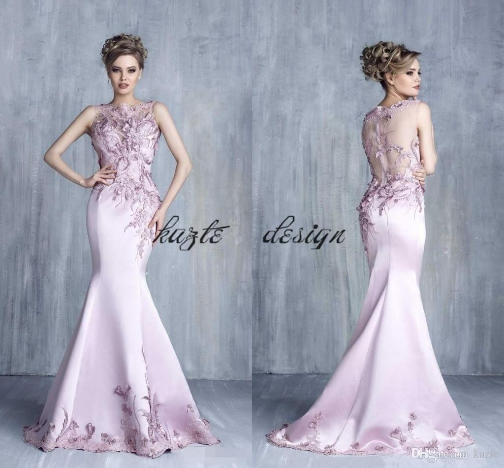 Tony Chaaya Evening Dresses Light Purple Satin Beads Mermaid Prom Gowns Sheer Lace Applique Sleeveless Jewel Neck Cheap Party Dress From Kazte 141 31 Dhgate Black Lace Prom Dress Evening Dresses [ 950 x 1024 Pixel ]