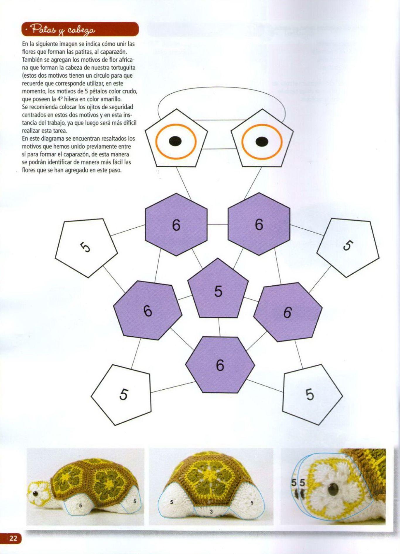 African Flower Turtle Free Pattern 3 4 Not In English C Rose Crochet Flores Crochetflowers Pretty Diagram