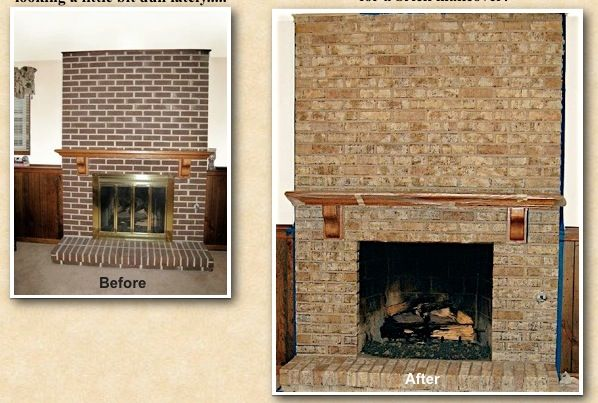 This Dark Brick Fireplace Was Stained To A Warm And Inviting New Look Project Located In Elk Grove Village Il Brick Fireplace Brick New Homes