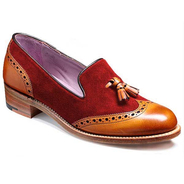 Barker Ladies Shoes – Amber – Cedar Calf & Burgundy Suede